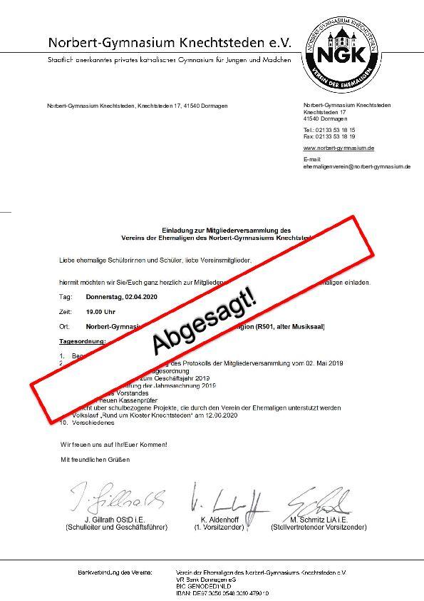 Mitgliederversammlung 2020 des Ehemaligenvereins abgesagt