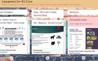 Padlet: Langeweile-Killer zu Ostern